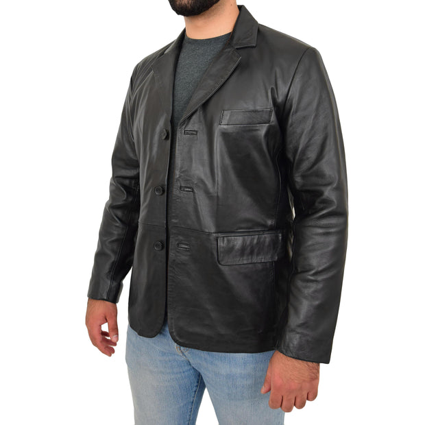 Real Leather Classic Blazer For Mens Smart Casual Black Jacket Kevin Open Front 2