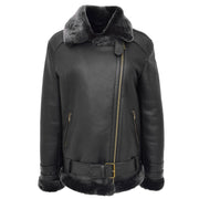 Womens Real Sheepskin Jacket Black X-Zip Aviator Belted Shearling Coat Willow Front