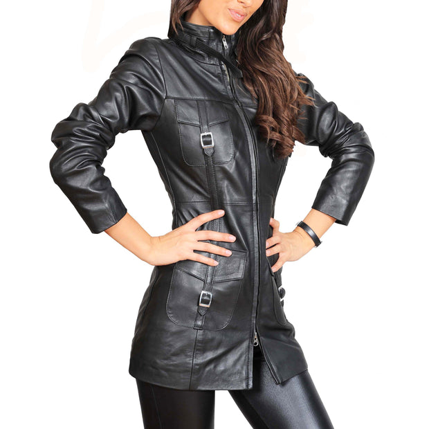 Womens 3/4 Long Zip Fasten Leather Jacket Carol Black zip up