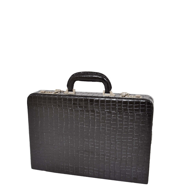 Black Leather Look Attache Croc Print Small Briefcase Dual Lock Lyon Front Angle 1
