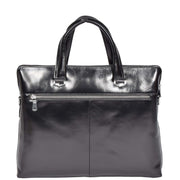 Italian Leather Black Briefcase Messenger Business Bag Denver Back
