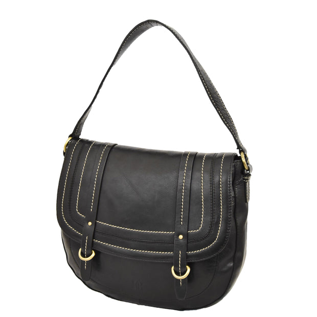 Womens Genuine Black Leather Satchel Bag Classic Hobo Shoulder Handbag Cecil Front Angle