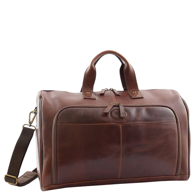 Genuine Leather Holdall Weekend Gym Business Travel Duffle Bag Ohio Brown Front 1