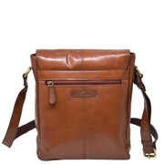 Mens Real Leather Cross body Messenger Bag A224 Chestnut Back