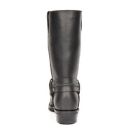 Real Leather Square Toe Cowboy Biker Boots AR69 Black Back