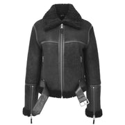 Womens Luxurious Genuine Sheepskin Flying Jacket Real Black Shearling Harriet Open Belt