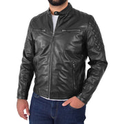Mens Soft Leather Biker Jacket High Quality Quilted Design Tucker Black Front 2