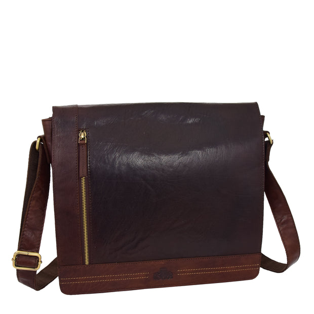 Mens Messenger Leather Bag Casual Office Students Man Bag Barney Brown Feature 2