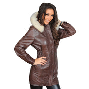 Womens Duffle Leather Coat Detachable Hood 3/4 Long Parka Jacket Mila Brown