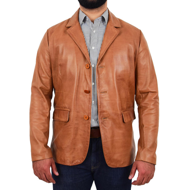 Mens Leather Blazer Real Lambskin Jacket Dinner Suit Style Coat Dean Cognac FRont 2