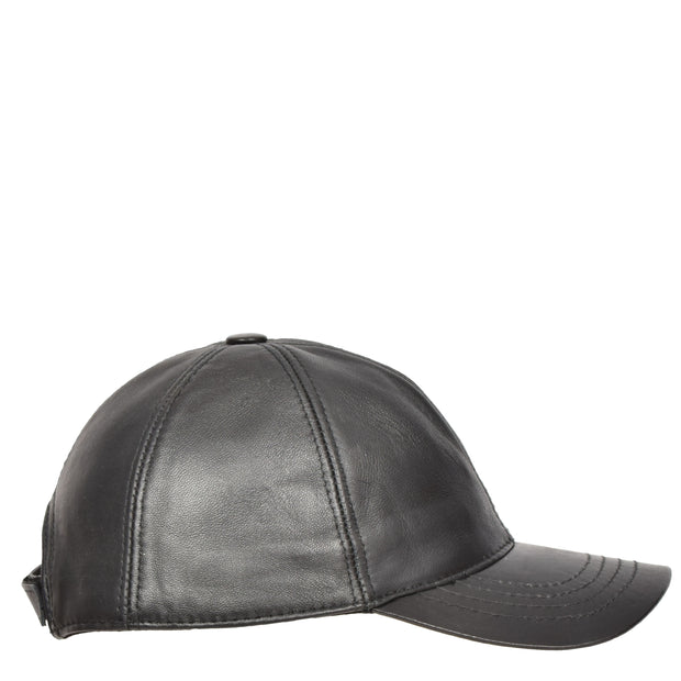Genuine Leather Baseball Cap Sports Casual Viper Black Side