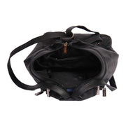 Womens Genuine Black Leather Backpack Walking Bag A57 Top Open