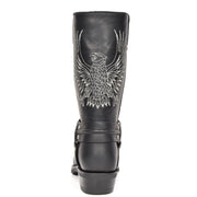 Real Leather Square Toe Cowboy Biker Boots AE33 Black Back