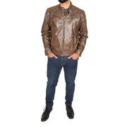 Mens Leather Jacket Biker Style Zip up Coat Bill Brown Full