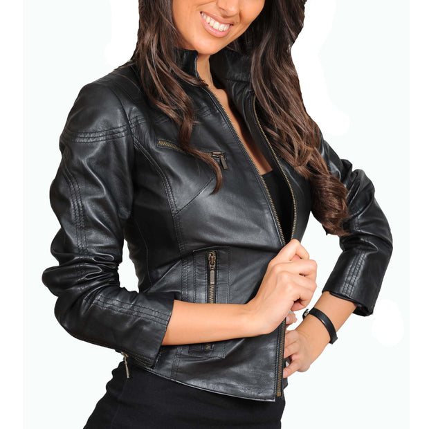Womens Fitted Leather Biker Jacket Casual Zip Up Coat Jenny Black Front