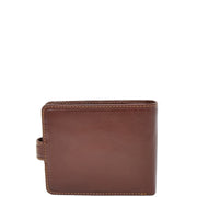 Mens High Quality Real Italian Leather Wallet Purse AVT53 Brown Back