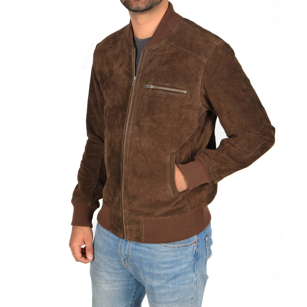 Mens Genuine Suede Bomber Jacket Roco Brown Front