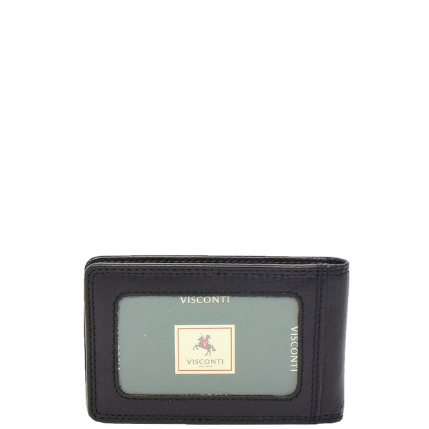 Real Leather Credit Card Holder Oyster Bus Pass ID Bifold Slim Wallet AV5 Black Back
