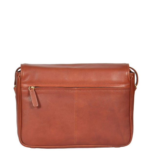 Ladies BROWN Leather Shoulder Bag Flap Over Handbag A190 Back