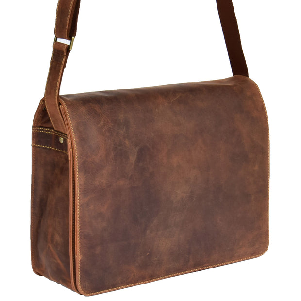 Mens Messenger TAN Vintage Leather Laptop Office Bag A48 Front Angle