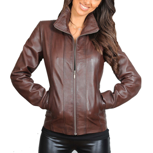 Womens Classic Fitted Biker Real Leather Jacket Nicole Brown Front 1