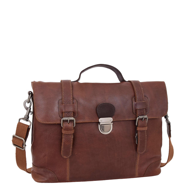 Mens Real Brown Cowhide Leather Briefcase Vintage Satchel Buck
