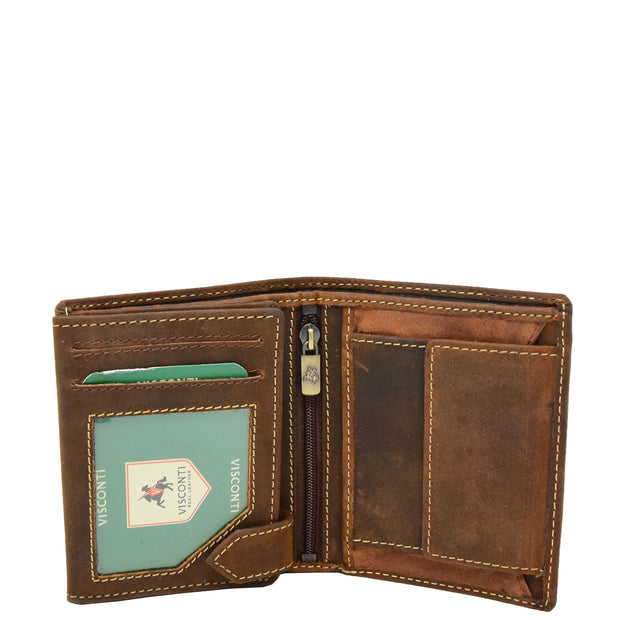 Mens Distressed Leather Wallet Coins Credit Cards Note Case A108 Tan Open 1