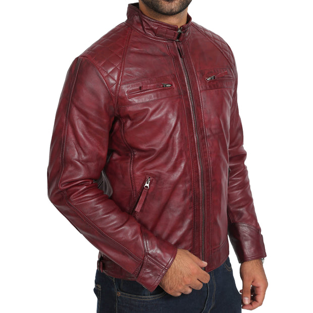 Gents Fitted Biker Leather Jacket Django Burgundy