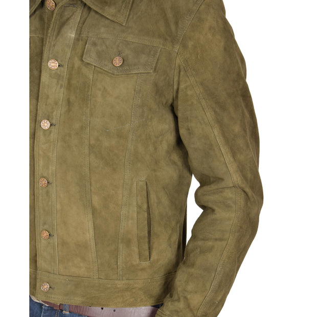 Mens Real Soft Goat Suede Trucker Denim Style Jacket Chuck Green Feature