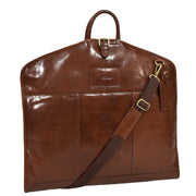 Luxury Leather Suit Carrier Bag Dress Garment Cover Finley Chestnut