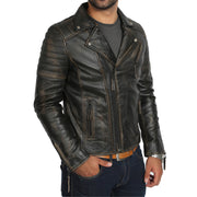 Mens Real Leather Biker Jacket Vintage Black Rub Off Slim Fit Coat Max Front 2