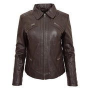 Ladies Soft Leather Jacket Fitted Collared Zip Fasten Biker Style Leah Brown Front