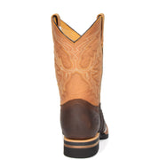 Cowboy Brown Multi Leather Square Toe Western Boots AFB55 Back
