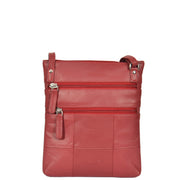 Womens Cross-Body Real Leather Shoulder Travel Bag A606 Red Back
