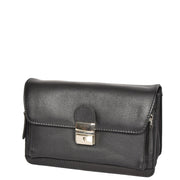 Real Leather Wrist Pouch Organiser Clutch Bag A853  Black Front Angle
