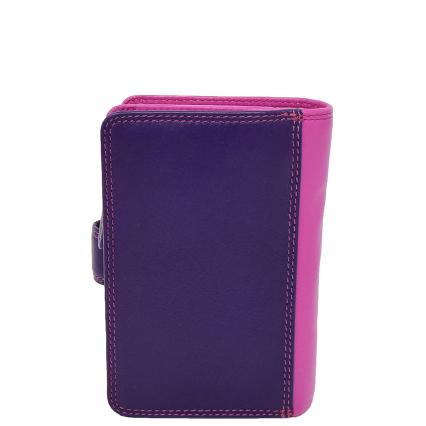 Womens Leather Booklet Evening Clutch Purse Multi Colour Wallet AVB51 Berry Back