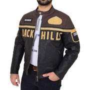 Mens Waxed Cowhide Biker Leather Jacket Badges Stripes Logos Tank Black Brown Front Open 2