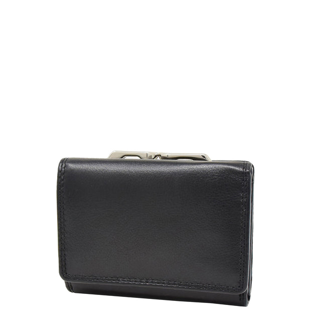 Womens Real Leather Purse Trifold Metal Clasp Wallet AL21 Black