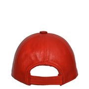 Genuine Leather Baseball Cap Sports Casual Viper Red Back