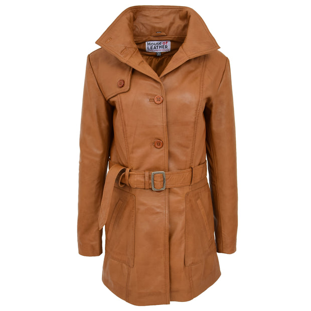 Womens Real Leather Mid Length Trench Parka Coat Alba Tan Front