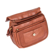 Womens Soft BROWN Leather Multi Zip Pockets Shoulder Bag A95 Open