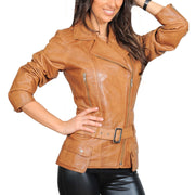 Womens Fitted Mid Length Biker Leather Jacket Hannah Tan Front