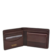 Mens Brown Real Leather Croc Print RFID Wallet AV92 Open