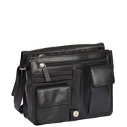 Womens BLACK Leather Shoulder Bag Classic Casual Cross Body Satchel A54 Open