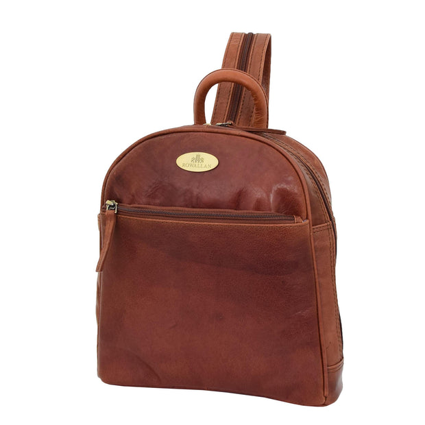 Womens Backpack Cognac LEATHER Rucksack Organiser Bag Harper