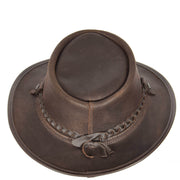Authentic Australian Bush Leather Cowboy Hat Brown Top