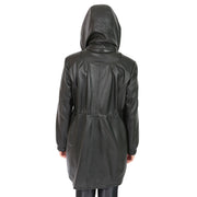 Ladies Duffle Leather Coat 3/4 Long Detachable Hood Classic Parka Jacket Liza Black Back 2