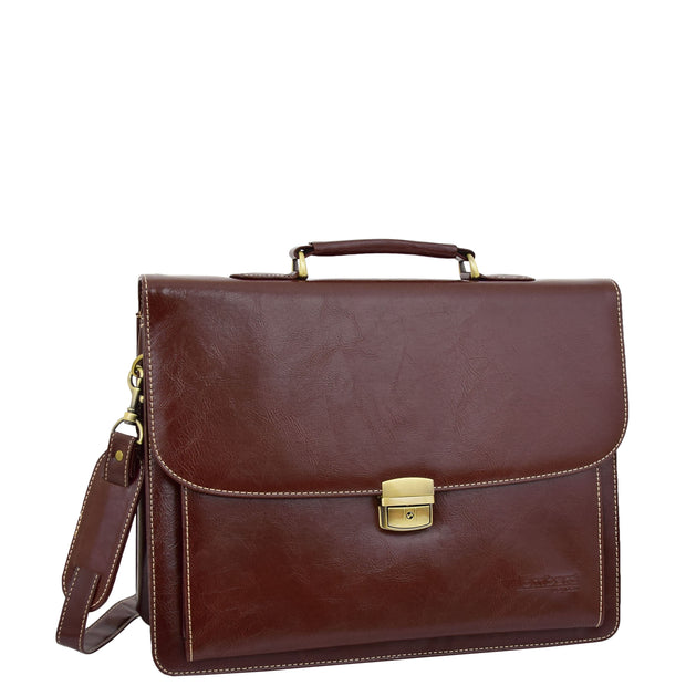 Mens pu Leather Briefcase Brown Laptop Bag A4 Office Business Satchel Andy