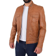 Mens Biker Leather Jacket Cognac Soft Nappa Fitted Standing Collar Tats Open 2