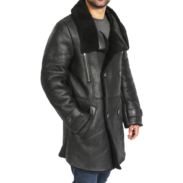 Mens Genuine Sheepskin 3/4 Long Reefer Trench Coat Bruno Black Side